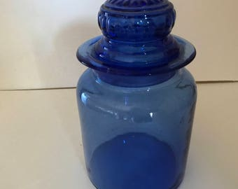 "Vintage Cobalt  Blue Glass Jar/-Canister - Container- 6 1/2"" Tall- 3 1/2"" Diameter"