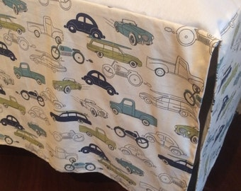 "14"" Any Fabric Straight Crib Skirt. Premier Prints Retro Rides Felix Blue/Natural. Vintage cars on natural"