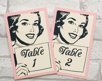 Wedding Table Numbers Cards - Vintage Retro Kitsch Fifties - 1950's party names centrepiece