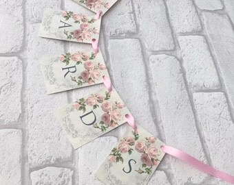 Wedding Vintage Card Garland Postbox Shabby Pink Rose