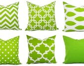 Decorative Pillow Cover - Green and White Pillows - Green Pillow Cover - Green Chevron Pillow - Green Throw Pillow - Cushion Cover