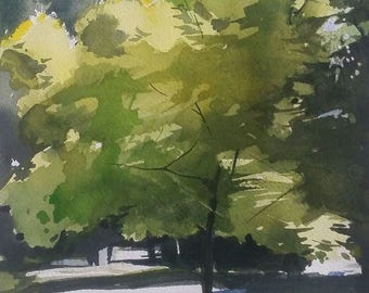 Landscape Painting, Landscape Art, Trees, Green Painting