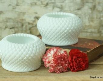 2 Milk Glass Rose bowls Vases Westmoreland Glass English Hobnail