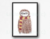 Nerd Sloth Print Cool Geek Wearing Glasses And Scarf Sloth Watercolor Painting Animal Art Print Watercolour Sloth Lover Gift Wall Art