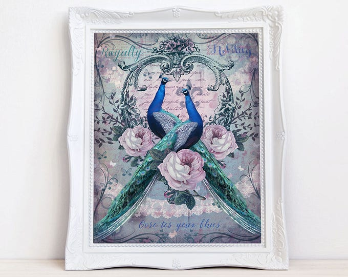 Vintage style Peacocks wall art by Enchanted Whispers