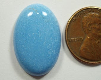 CERULEITE, very rare gemstone, 10.08 carats, 22.9 x 15.1 mm deep sky blue, cerulean blue oval cabochon gemstone
