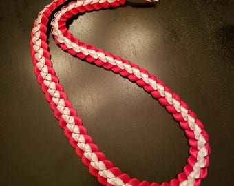 Graduation Lei - Ribbon Lei - Red and White Lei - READY TO SHIP