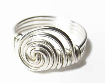 Sideways Ring, Sterling Silver Swirl Ring, Size 4 5 6 7 8 9 10 11 12 13 14, Sterling Silver Wire Wrapped Ring, Sterling Silver Wire Ring