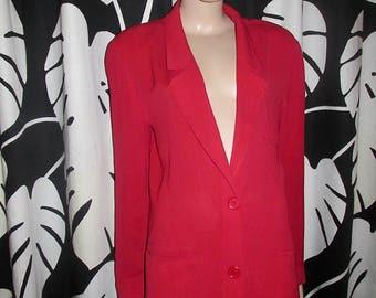 Vintage Georges Rech jacket. Vintage red jacket.Frech Vintage jacket in red crinkled fabric.