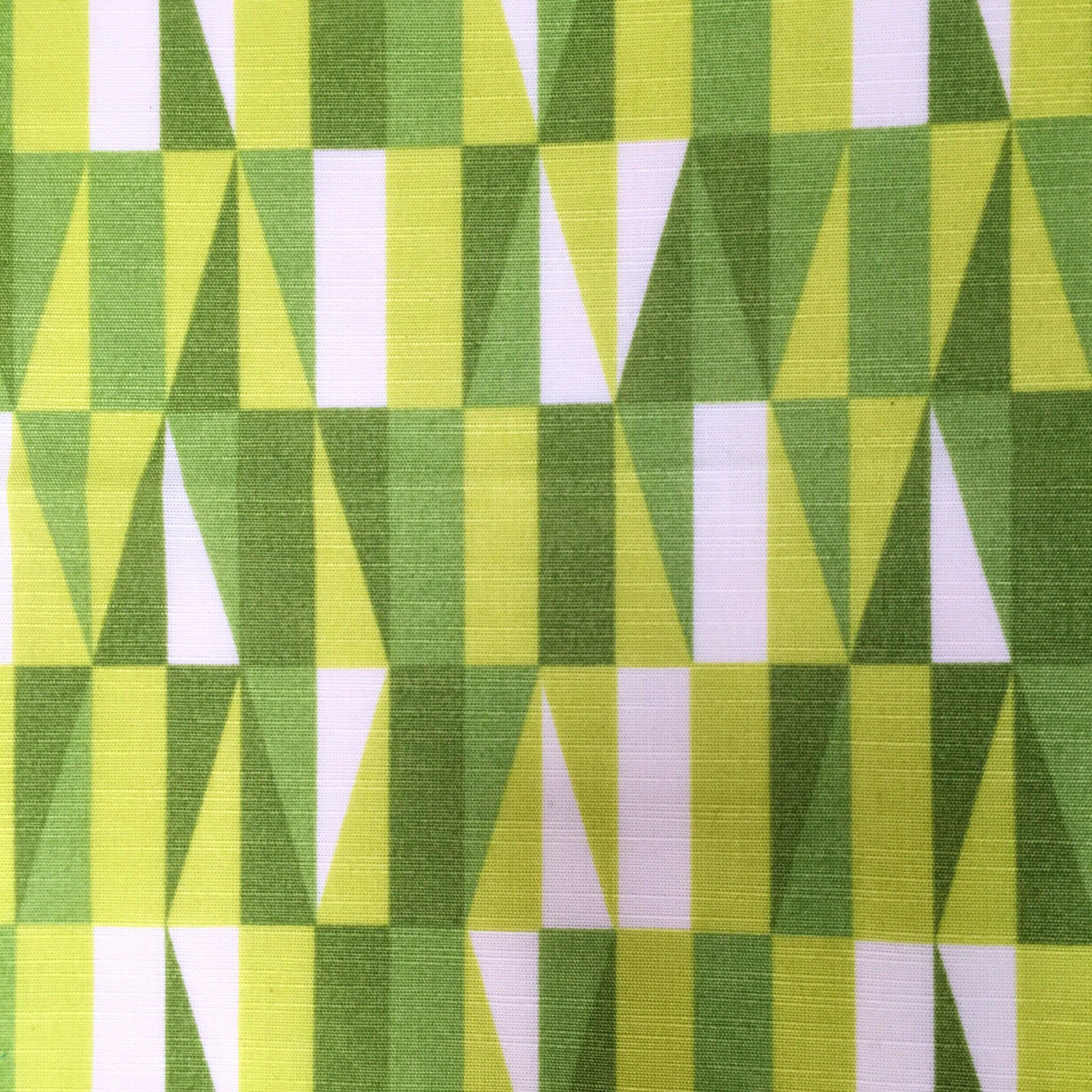 Geometric vintage fabric green retro upholstery fabric mid for Vintage fabric