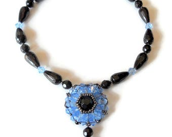 beaded black jewelry  necklaces bead woven pendant necklace