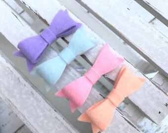 Felt bows - READY TO SHIP - alligator clips - hair clips
