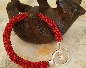 Ruby Red Kumihimo Beaded Bracelet