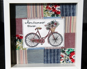 Patchwork embroidered wall art