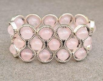 Rose quartz bracelet, Rose quartz jewelry, Gemstone bracelet, Stretch cuff, Light pink cuff, Gift for her, Rose quartz cuff, Beaded cuff