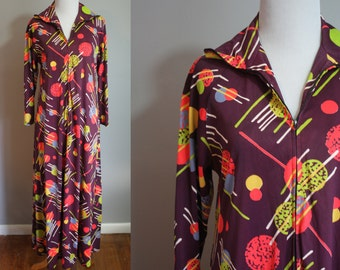 1970's Maxi Dress // Galactic Novelty Print // XL