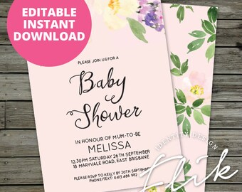 """Floral Pink Flowers Baby Shower Invite 5x7"""" Invitation Printable Digital Pastel Party Invite Instant Download Printable Editable Digital"""
