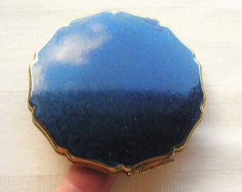Vintage Compact|Stratton Compact|Navy Blue|1950's|Very Good Vintage Condition|Made in England