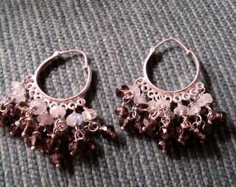 Black and White Bead Sterling  Dangle Earrings