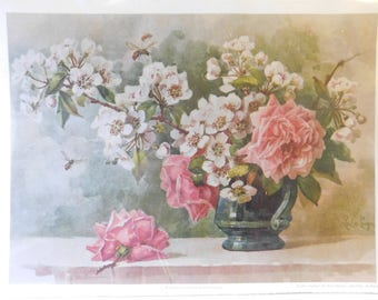 Roses and Cherry Blossoms Lithograph by Paul de Longpre - Art Print of Vintage Art