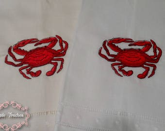 Crab Embroidered Linen Hand Towel, Linen Hand Towel, Embroidered Hand Towel