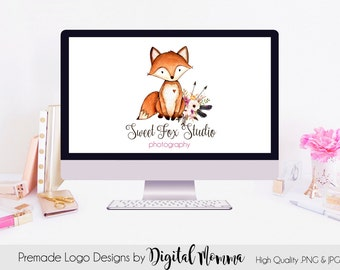 Premade Sweet Fox Logo Design, Fox Branding, Photography, Boutique Marketing Design