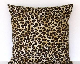 Leopard Pillow Cover Decorative Throw Brown Black Gold Tan Lumbar 16x16 18x18 20x20 22x22 12x16 12x18 12x20 14x22 Zipper