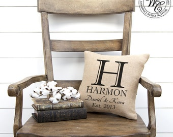 BURLAP PILLOW, Personalized Wedding Gift, PILLOW with Monogram, Family Name &  Established Date