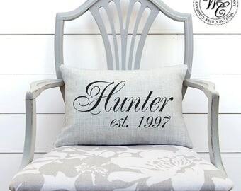 Farmhouse Decor, Fixer Upper, Wedding Gift, Last Name Est Pillow, Farmhouse Pillow, Fixer Upper Decor, Linen Pillow, Family Name Pillow,