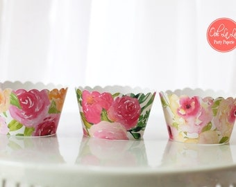 MADE TO ORDER Beauty in Bloom Floral Cupcake Wrappers- Set of 12