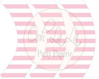 Printable Light Pink and White Striped Standard Size Cupcake Wrappers (INSTANT DOWNLOAD)