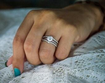 delicate graduated contour ring guard 10 karat gold ring enhancer with 32ct white cubic - Wedding Ring Enhancer