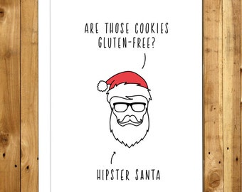Hipster Christmas Card - Funny Christmas Card - Funny Holiday Card - Humorous Christmas Cards - Christmas Humor - Hipster Santa