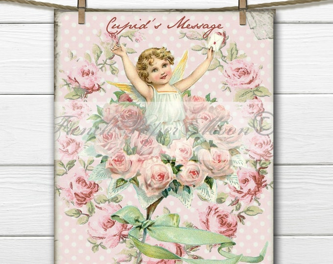 Digital Shabby Chic Vintage Valentine, Victorian, Cupid, Cherub, Angel, Rose Wreath, Fabric Transfer Pillow Graphic
