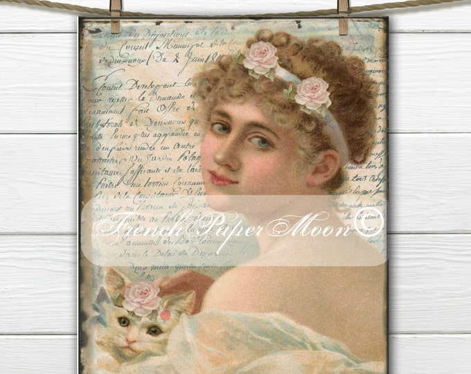 Digital Shabby Victorian Lady with Cat, Roses, French Script, Printable French Pillow Transfer Image, Download