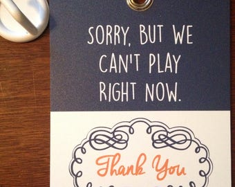 Double Sided Can/Can't Play Sign (Navy blue, white, orange)