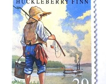 10 Vintage Huckleberry Finn Postage Stamps // Mark Twain Book Postage Stamps // 29 Cent Vintage Stamps for Mailing