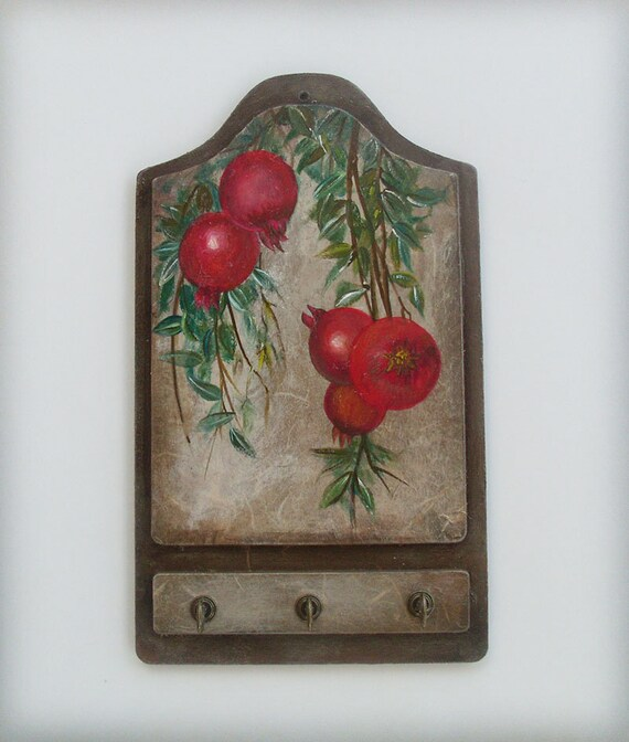 POMEGRANATES - Wooden Key Holder