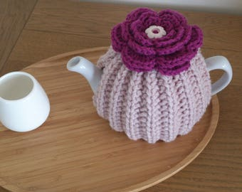 Pink  hand knitted tea cosy with crochet flower top and  button centre detail - to fit a Size 2 CUP (0.5Litre) TEAPOT - Ready to ship