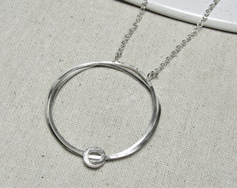 Twisted Silver Long Necklace, Sterling Silver, Handmade Necklace, long silver necklace, statement necklace, big pendant, organic necklace