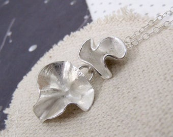 Silver Ruffle Necklace, Silver Flower Necklace, Delicate Silver Necklace, Unusual Silver Pendant, Handmade Necklace, gift for her