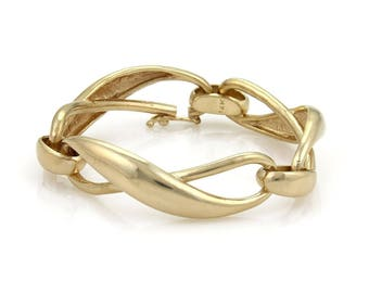 20677 - Vintage High Curved Infinity Link 14k Yellow Gold Bracelet