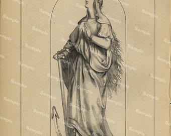 19th century original antique Relics of middle age decorative art print Religious