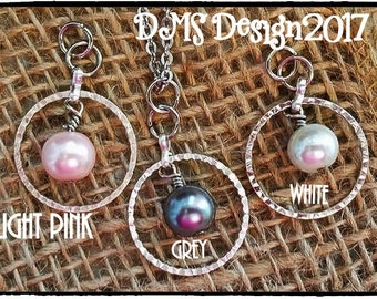 Beautiful One Loop Pearl Pendants/Necklaces with Stainless Steel Chain; Grey, Pink or White Pearl setting