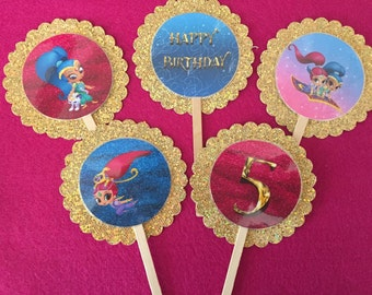 Glitter and  shine cupcake toppers