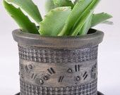 Small Indoor Planter with Saucer, Succulents or Cactus or Bonsai, Stoneware with Kalamata Black Matte Glaze and Textured stained surface