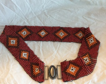 Vintage Beaded Belt Size Large