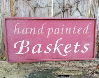 """DISCOUNTED PRICING Vintage used country Home Hand Painted Baskets decor sign Red White paint 6x12-1/2"""" ready to hang Unique Wood Item"""