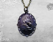 Fantasy Unicorn cameo pendant // Antique brass effect with purple + blue patina // Fairytale Steampunk Horse gift for her // Chain sold sep.