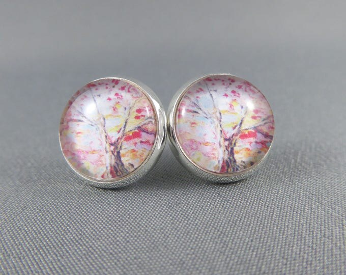 Featured listing image: Stud Earrings Glass Cabochon - Watercolour Tree